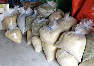 発酵中の竹粉。袋に詰めて空気を抜く。写真手前が発酵4週間目、写真奥が発酵2週間目の袋。竹の水分だけで発酵する。