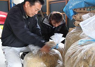 水田の土作りをするタイミングで発酵たけこと稲わらをすき込みます。その後、稲穂がでる少し前にも発酵竹粉を水田に散布します。窒素が多すぎた場合、バクテリアが余分な窒素を食べてくれます。